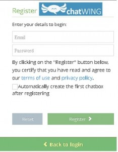 chatwing-registration screen