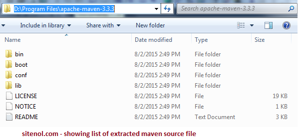 Showing list of extracted Maven files.