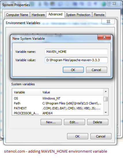 Adding maven environment variable.