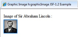 This image is showing the first output screen of JSF example