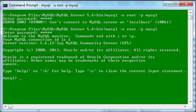 Command prompt showing mysql server started successfully