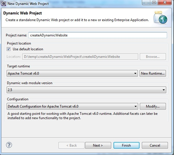 Image showing how to set properities for Dynamic Web Application