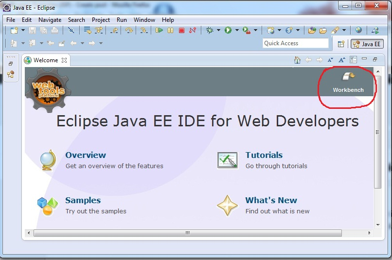 Image of Eclipse showing how to go to workspace