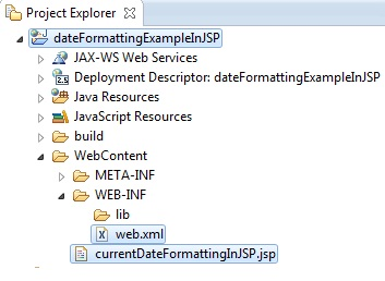 Image showing complete workspace for Date Format Example In JSP