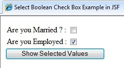 Image showing h:selectBooleanCheckbox example Ouput