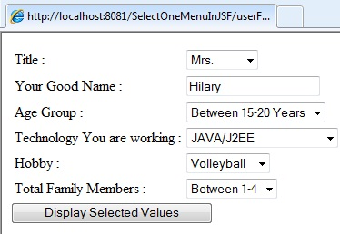 Image showing out of Select One Menu Example in JSF