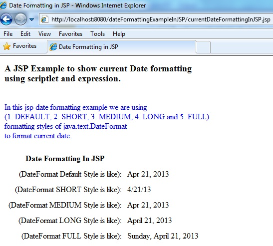 Image showing JSP Date formatting Example Output Screen. Using java.text.DateFormat