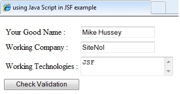 client Side Validation In JSF output Screen One